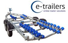 EXTREME 3000kg SUPER ROLLER BOAT TRAILER - 52 ROLLERS WITH SWING CRADLES - 24ft BOATS 7.8m RIBS